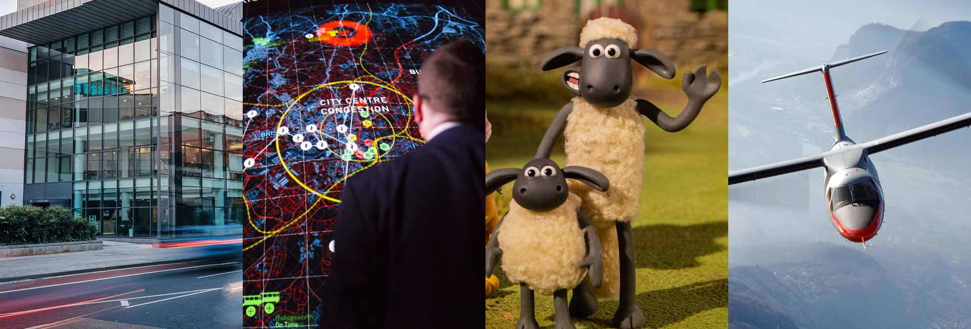 4 images including Shaun the Sheep, Hargreaves Lansdowne building, a man looking at a screen and Vertical Aerospace aircraft